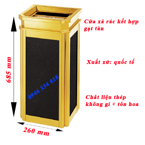 hình ảnh các thông số chi tiết thùng rác sảnh fg-106b2